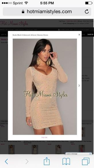 long sleeve dress nude dress mesh dress rhinestone dress