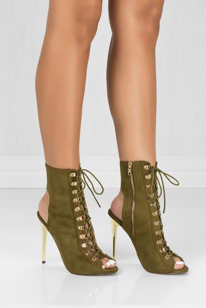 shoes, olive green booties, heels