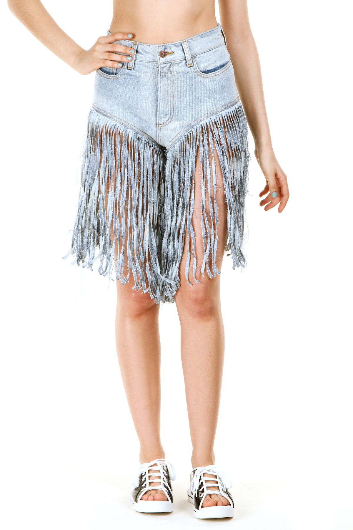 JEREMY SCOTT FRINGE JEAN SHORTS - WOMEN - BOTTOMS - JEREMY SCOTT - OPENING CEREMONY