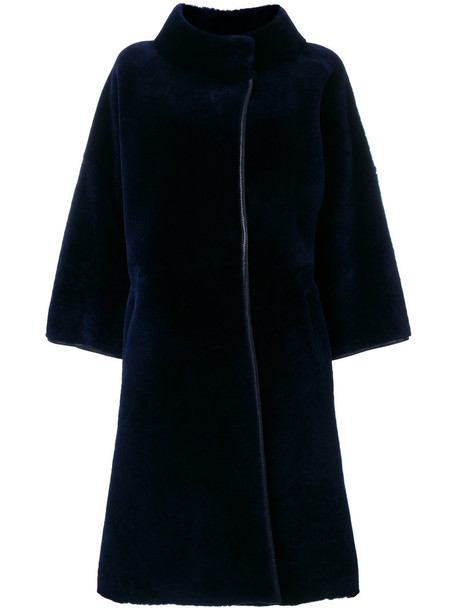 coat fur high women high neck leather blue