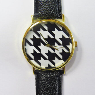 jewels watch handmade style fashion vintage etsy freeforme black white houndstooth black and white summer spring gift ideas new
