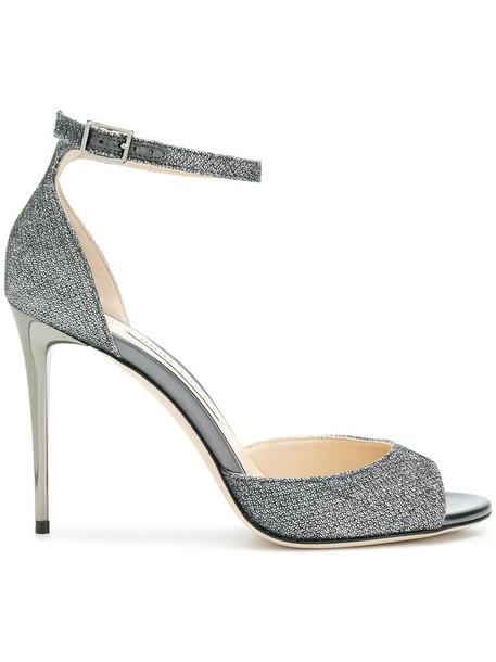 Jimmy Choo women 100 sandals leather grey metallic shoes