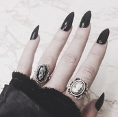 jewels,ring,black,old school,pretty,face,silver,jumper,sweater,cute,sleep,acrylics,lace,matte,white,vintage,silver ring,fake nails,lace dress,cute jewels,cute jewelry,jewelry,nails,midi rings hand jewelry,hand jewelry,accessories,accessories style,Accessory,trendy,fashion inspo,style,stylish,blogger,fashionista,chill,rad,on point clothing,grunge,grunge jewelry,tumblr,nail accessories