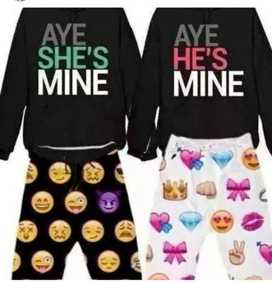 pajama pants pajamas couple sweaters couple crewneck couple sweatshirts matching him and her emoji pants