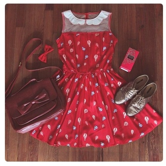 dress red scallop peter pan collar cut-out mesh hot air balloons cute