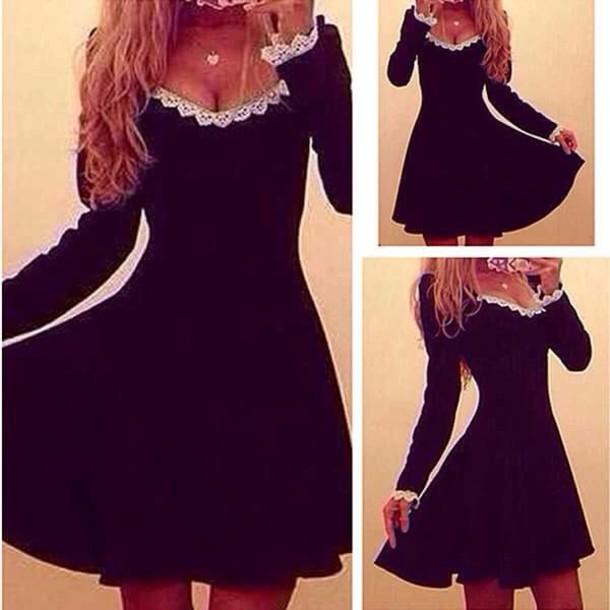 dress white lace cute sleeve black dress