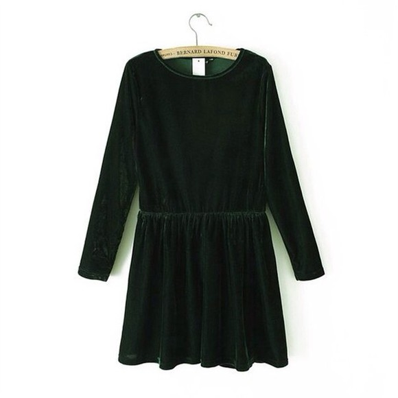 dress long sleeved dress velvet green velvet green velvet dress green pretty awesome so awesome
