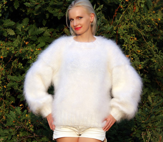 Thick and fuzzy hand knitted mohair sweater in white by supertanya