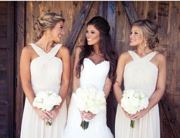 Dress Dress Wedding Long Bridesmaid Dress Bridesmaid Nude Sage