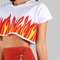 Flame print crop top white -shein(sheinside)