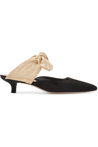 The Row - Coco suede and moire pumps