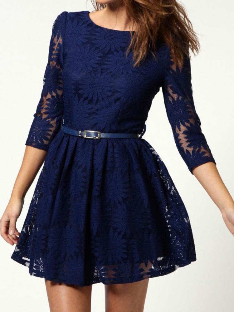Blue Lace Dress with Belt Added | Choies