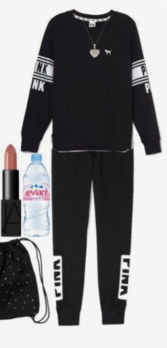 jumpsuit pink by victorias secret black white