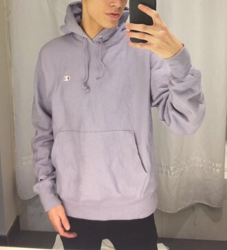 sweater purple champion sweatshirt lavender purple hoody hoodie
