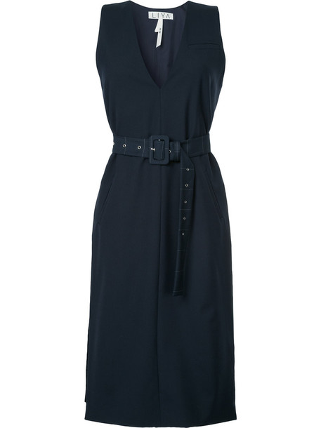 Liya dress women blue wool