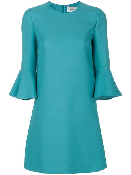 dress bell sleeve dress women blue silk wool