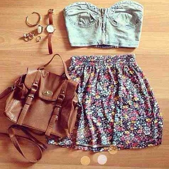 floral bag blouse crop tops pink blue skirt shirt clothes croptop denim leather watch jewelry purse jewels