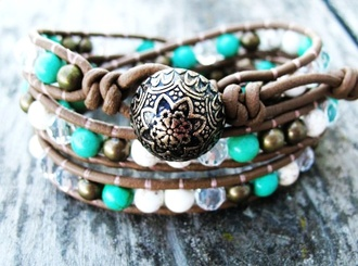 jewels bracelets leather bracelets brown bracelet turquoise bracelet