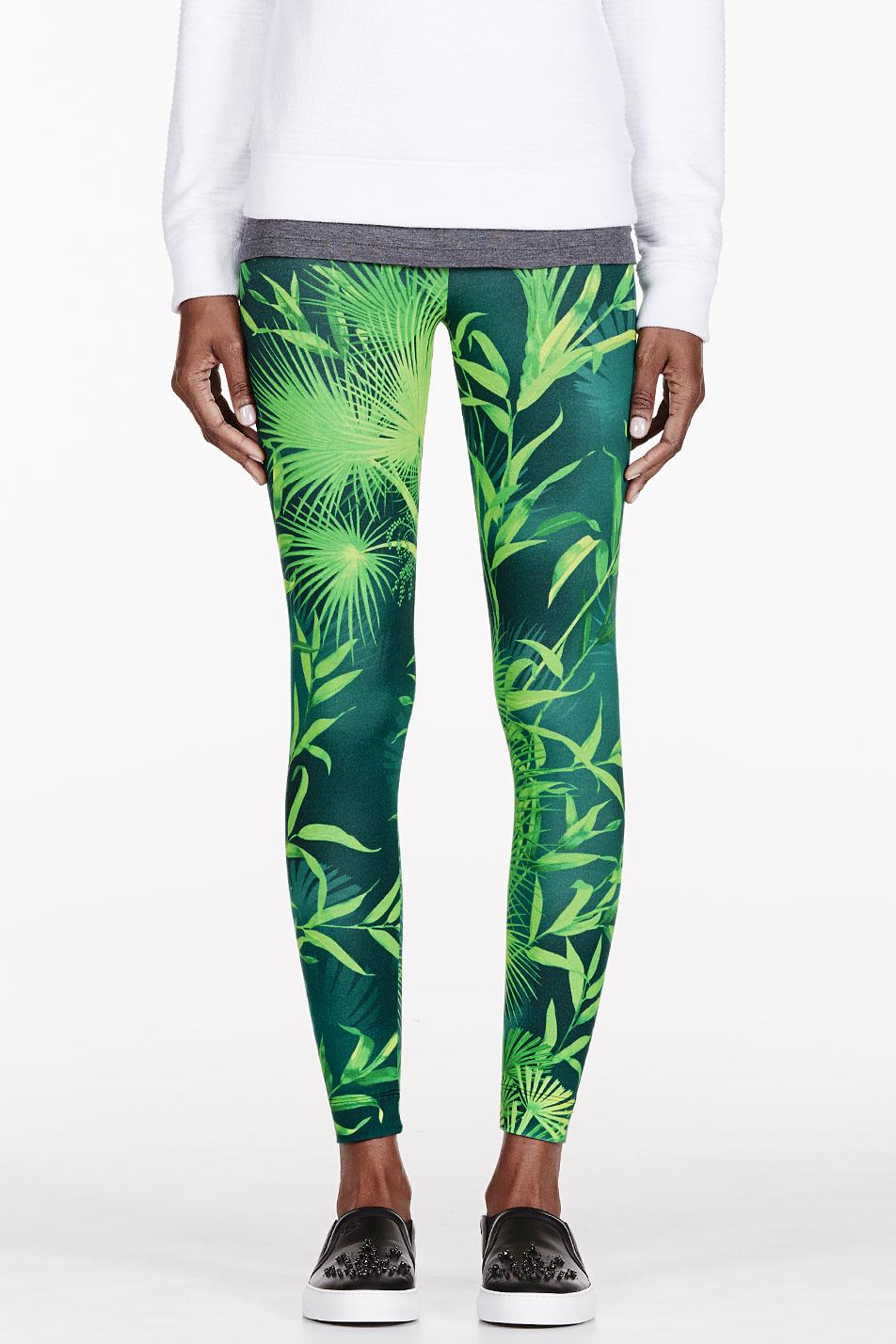 Versus green leaf print leggings