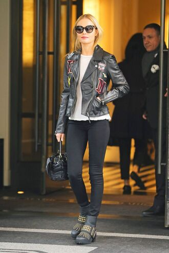 jacket boots kate bosworth fall outfits biker jacket sunglasses streetstyle shoes ankle boots