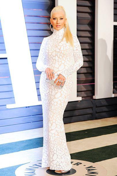 dress gown long sleeves long sleeve dress christina aguilera white dress turtleneck oscars 2015 red carpet dress