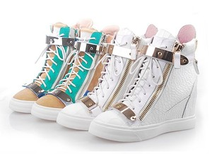 4 Color Womens Alligator Metal Punk Ankle Boots Leather Lace Up Hi Top Sneakers | eBay