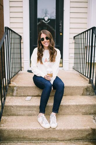 sequins and stripes blogger sweater shoes sunglasses