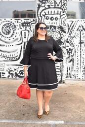 somethinggoldsomethingblue,blogger,dress,shoes,bag,jewels,sunglasses,plus size dress,handbag,red bag,black dress,plus size