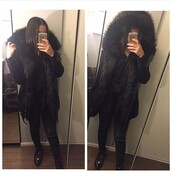 coat,faux fur black parka