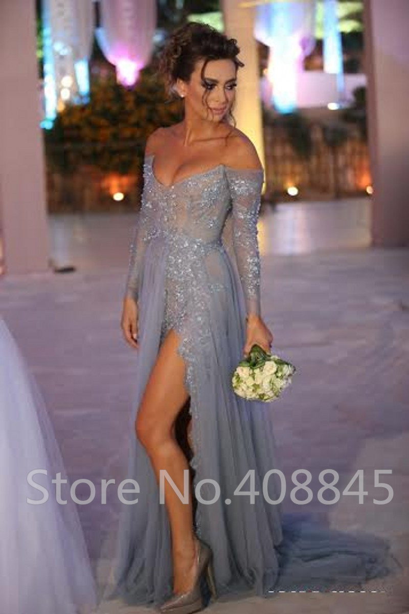 090a2d6a53 Aliexpress.com   Buy vestido longo Gray Tulle Long Evening Dresses Sexy Off  the Shoulder Lace Long Sleeve Prom Dress High Slit Beading ...