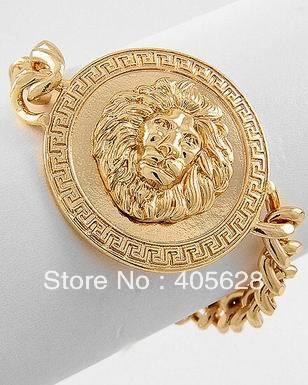 Lion head bracelet, gold color-in Special Store from Jewelry on Aliexpress.com