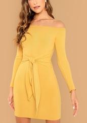 dress,girly,girl,girly wishlist,yellow,yellow dress,off the shoulder,off the shoulder dress,bodycon dress,bodycon,long sleeves