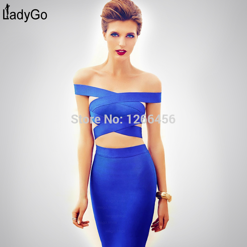 Aliexpress.com : buy lady go popular 2014 criss cross off the shoulder cut out blue two pieces hot sexy new club blue bandage dress h1100 from reliable bandage dress yellow suppliers on guang zhou tianyi trade co.,ltd.