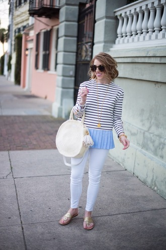 something delightful blogger top jewels shoes sunglasses bag round bag striped top white pants spring outfits