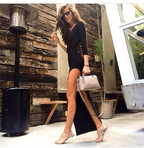 dress black long sleeves back design slit dress