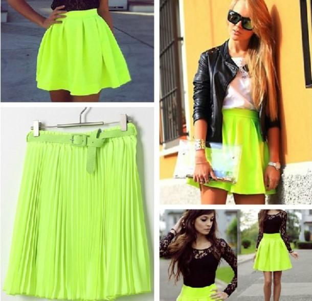 Neon Green Skater Skirt August 2017