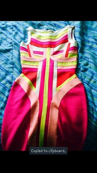 dress neon multicolored bandage dresses