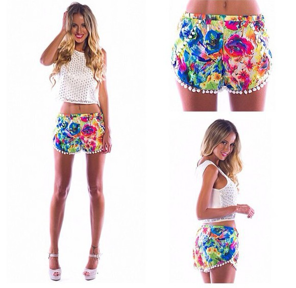 shorts floral shorts colourful rainbow
