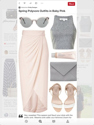 skirt baby pink high waist front split wrap skirts maxi skirt kim kardashian scarf top shoes bag