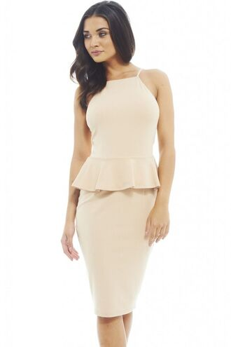 beige dress beige midi midi dress peplum dress peplum midi beige peplum www.ustrendy.com