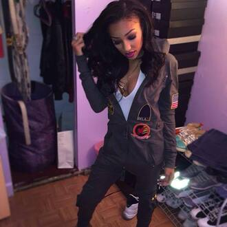 jumpsuit grey grey jumpsuit onesie dope urban patch style bodysuit