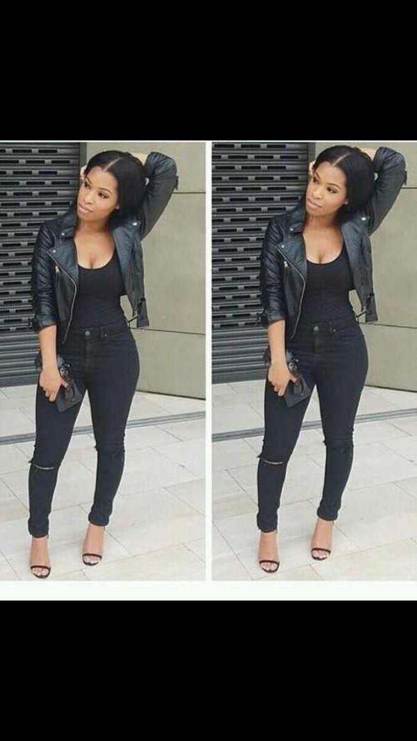 Jacket: black girls killin it, leather jacket, high waist black ...