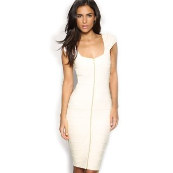 Amazon.com: Miusol Women's Sexy Cream Zip Ladies Cap Sleeve Stretch Cocktail Party Dresses: Clothing