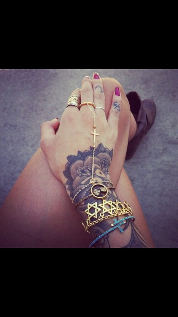 jewels gold stars ring bracelets chain cross
