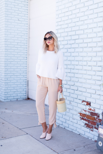 late afternoon blogger sweater pants shoes bag sunglasses jewels white blouse pink pants spring outfits