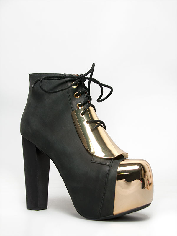 Jeffrey Campbell Lita Plate Black Gold Leather Platform High Heel Lace Up New | eBay