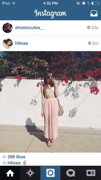skirt maxi pink wavy silk high waisted