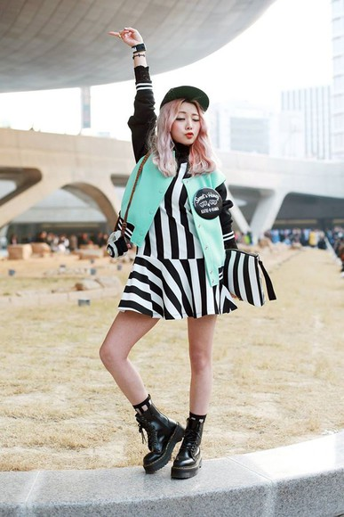 mint shoes bag jacket japanese kfashion boots combat boots