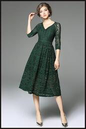 dress,lace,lace dress,green dress,three quarter sleeves dress,short dress,formal dress,formal dresses online,formal party dresses