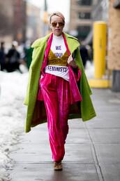 coat,velvet pants,nyfw 2017,fashion week 2017,fashion week,green coat,streetstyle,pants,pink pants,velvet,wide-leg velvet pants,blazer,pink blazer,velvet blazer,top,mustard,velvet top,white t-shirt,equality,feminist tshirt